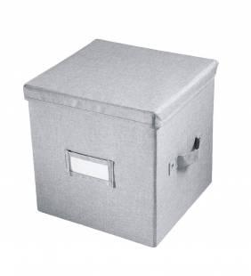 Canasto Organizador Con Tapa Codi Gris Cubo Interdesign