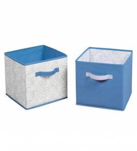 Set 2 Canastos Organizadores Cube Azul/Gris S Interdesign